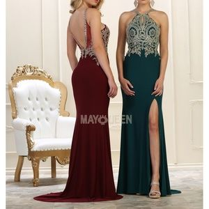 Fitted formal gown. Prom evening bridesmaid dress
